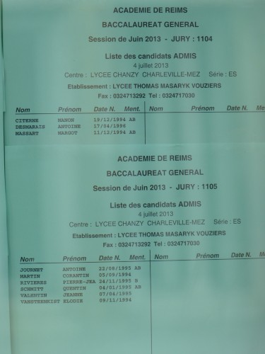 bac, masaryk,résultats du bac, lycée Masaryk,vouziers